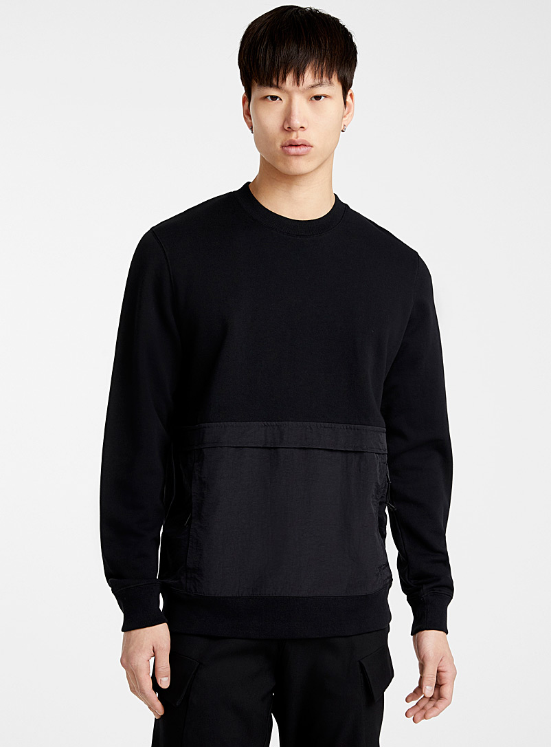 Le 31 Black Utility-pocket sweatshirt for men