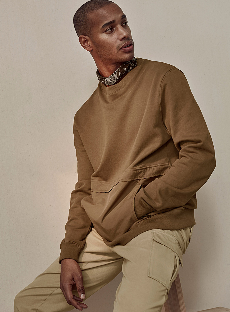 Le 31 Brown Utility-pocket sweatshirt for men