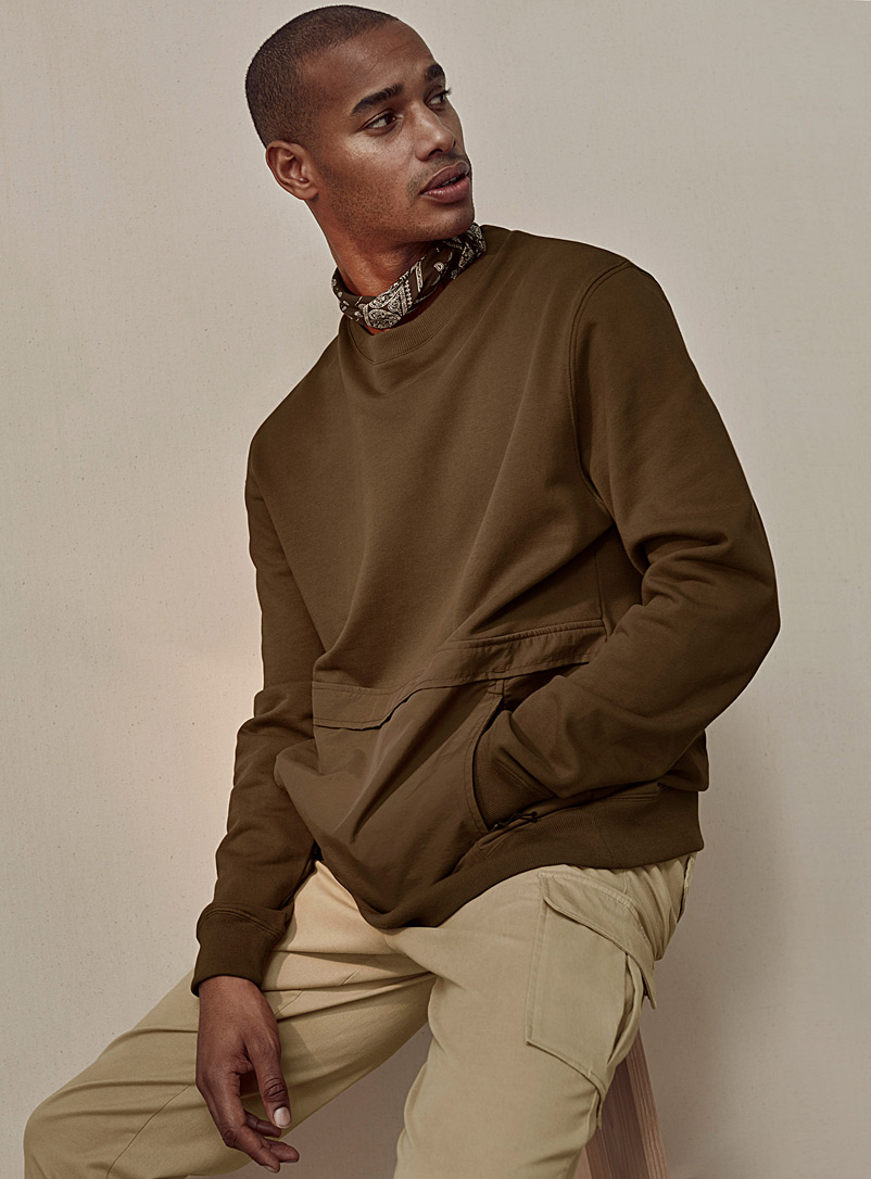 Le 31 Dark Brown Utility-pocket sweatshirt for men