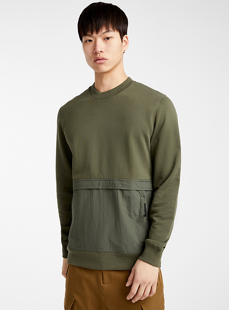 Le 31 Mossy Green Utility-pocket sweatshirt for men