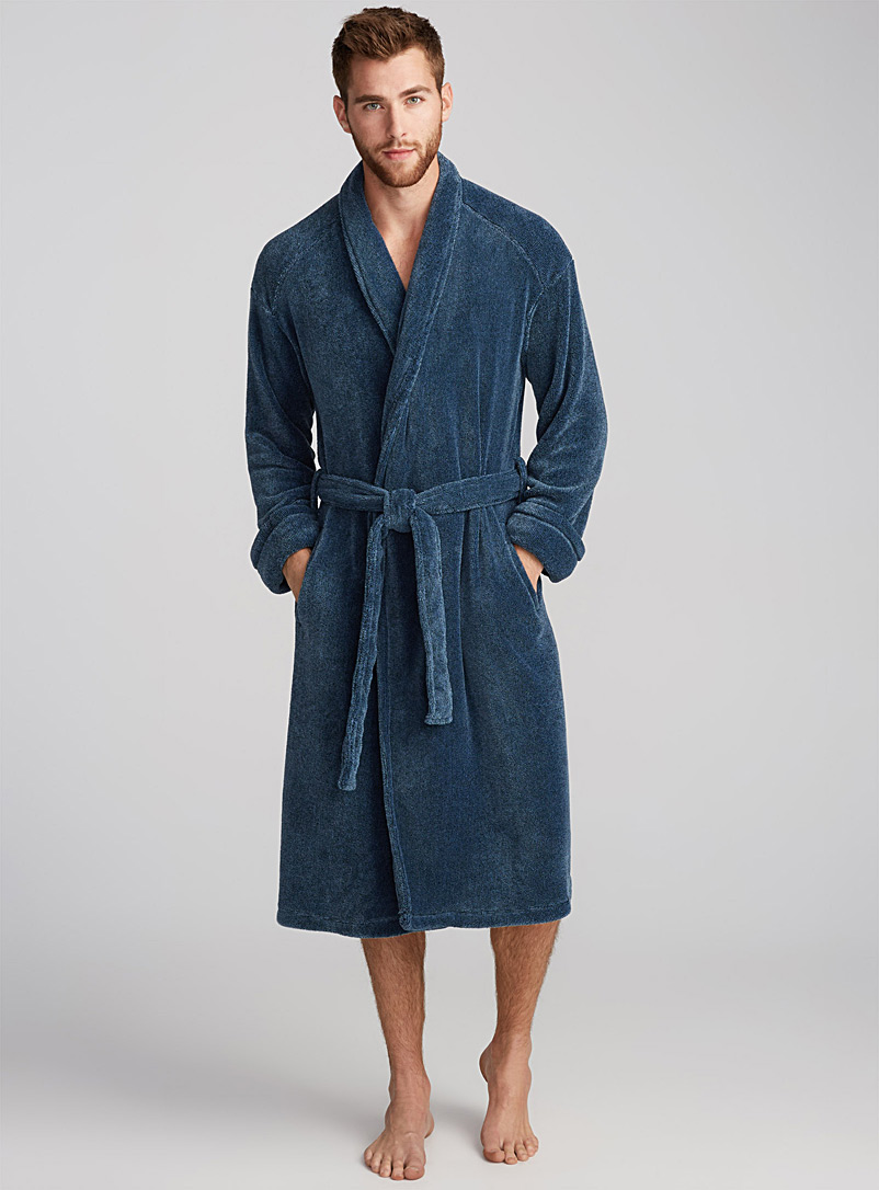 Heather fleece robe - Bathrobes - Blue