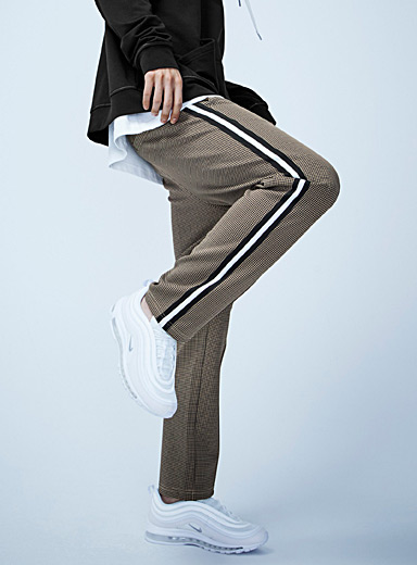 Sporty houndstooth-stripe jogger