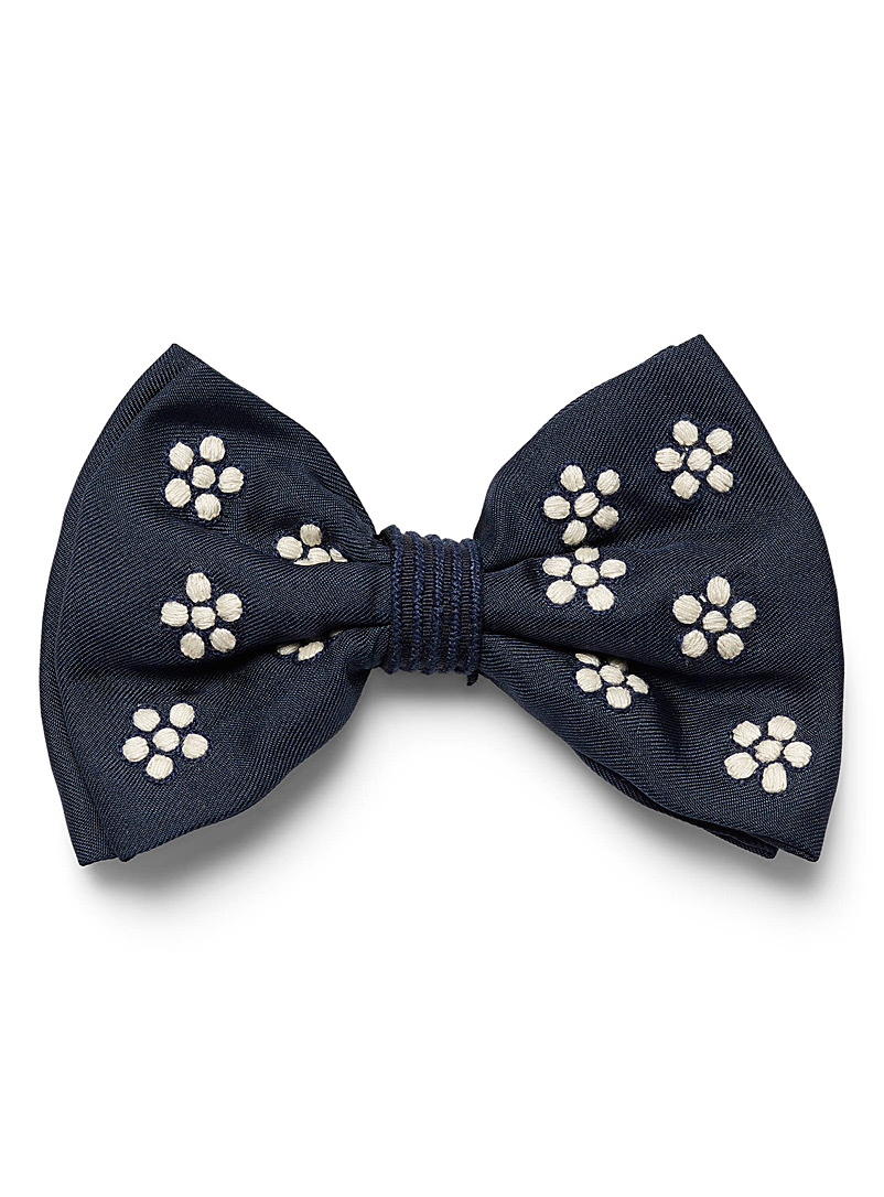 Jupe by Jackie Marine Blue Embroidered daisy bow tie for men