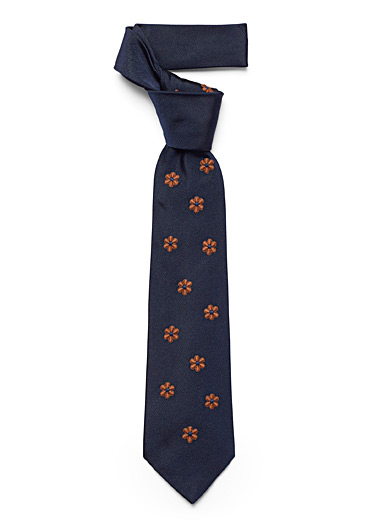 Embroidered copper flower tie