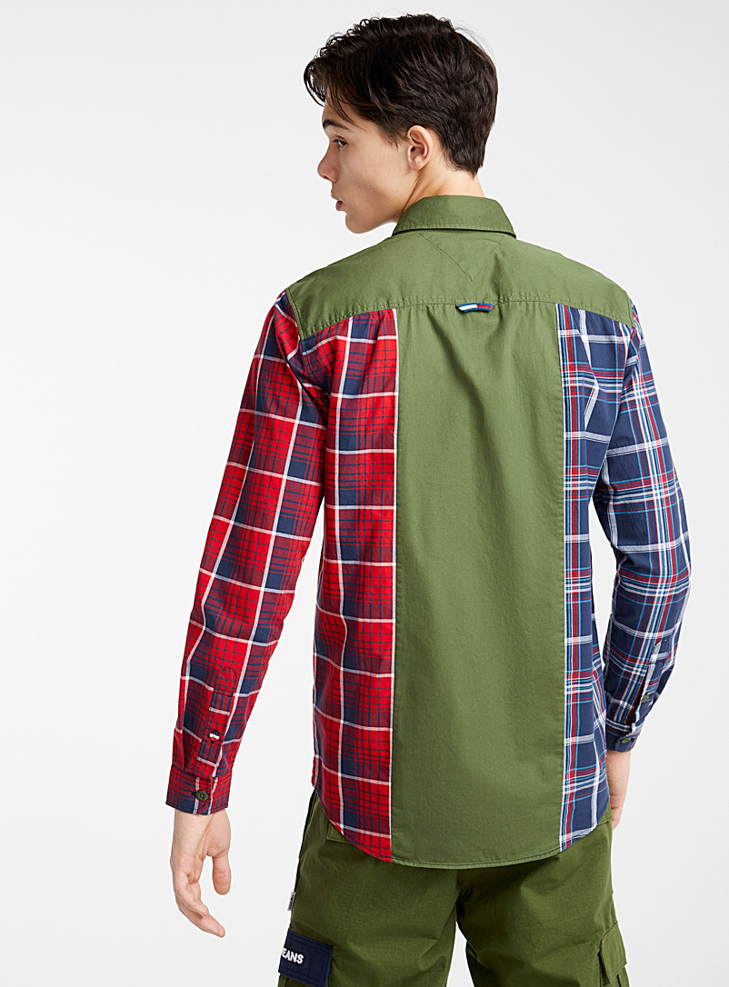 Mixed check utility shirt  Modern fit - Long sleeves - Mossy Green