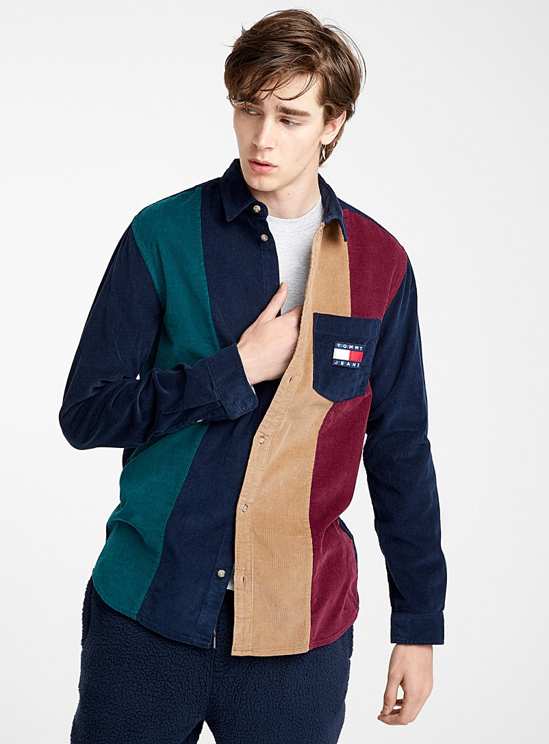 Corduroy block shirt  Semi-tailored fit - Patterns - Marine Blue