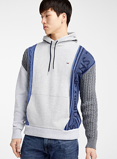 Knit and sweatshirt hoodie
