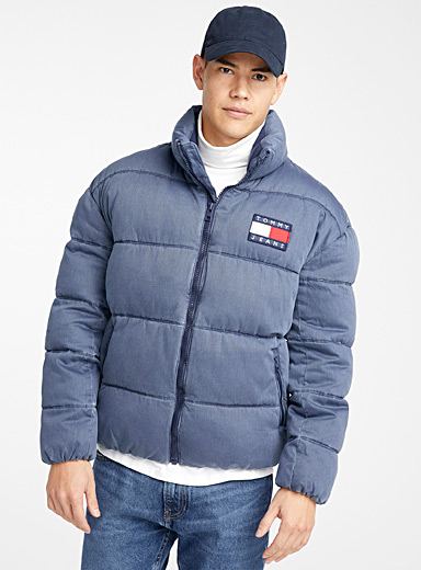 Faded denim-like puffer jacket
