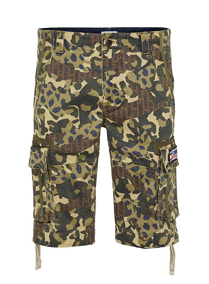Tommy Hilfiger Green Camo cargo logo Bermudas for men