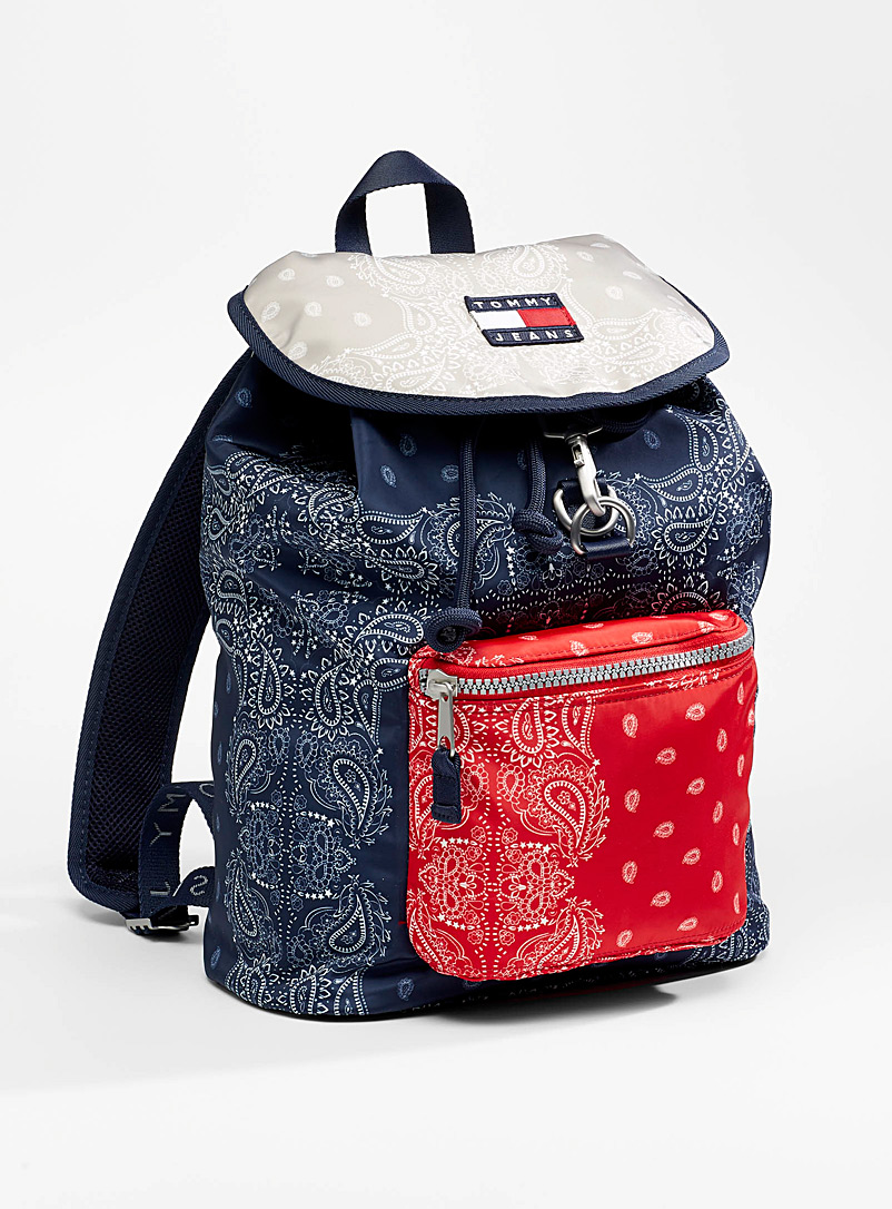 Tommy Hilfiger Marine Blue Tricolour bandana backpack for men