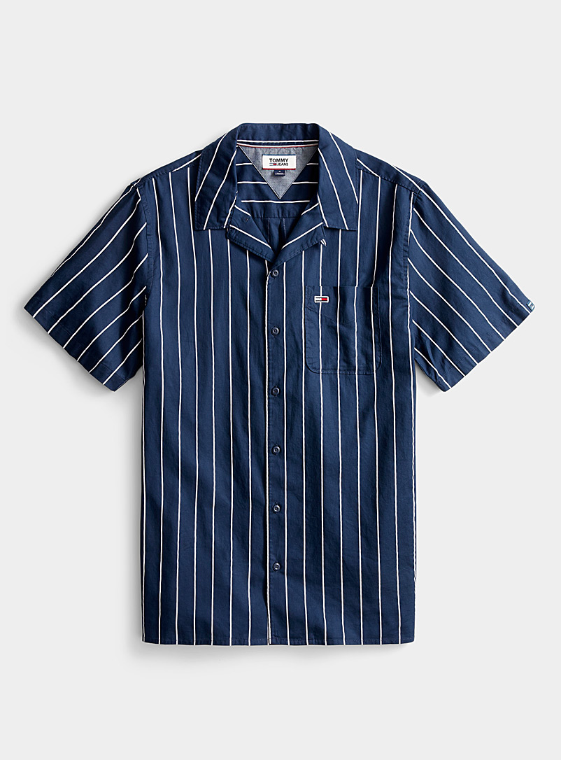 Tommy Hilfiger White Neo-nautical camp shirt for men