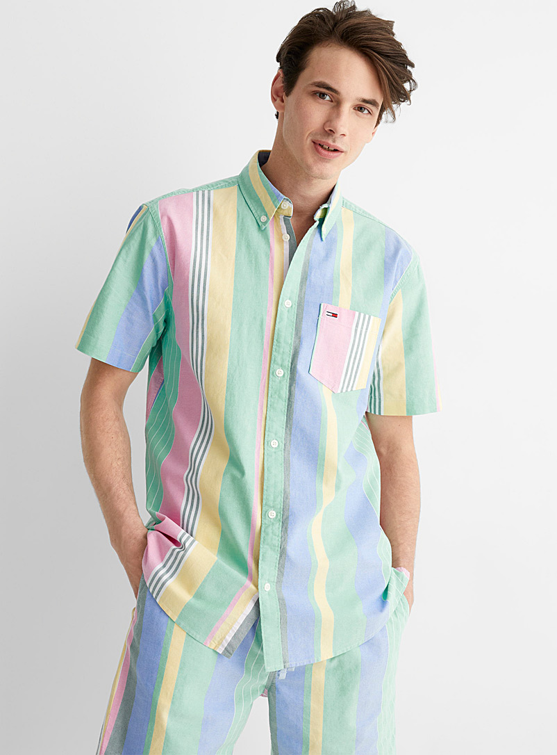 Tommy Hilfiger Pink Combined pastel stripe shirt for men