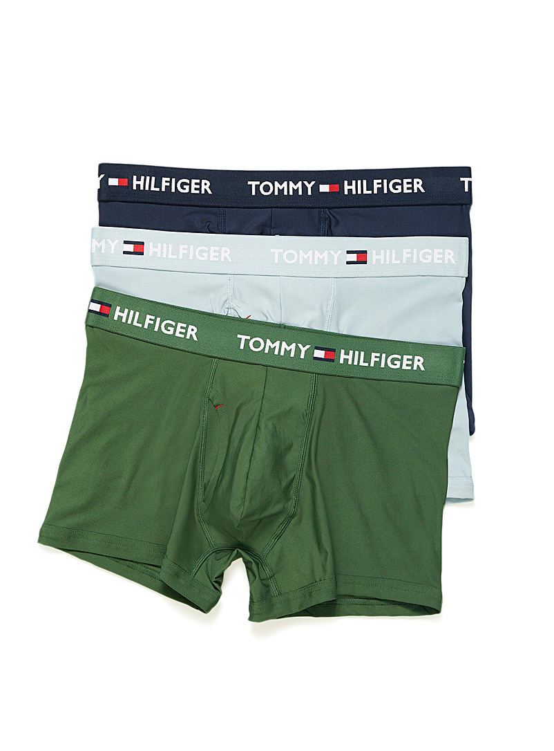 Tommy Hilfiger Mossy Green Solid microfibre trunks  3-pack for men