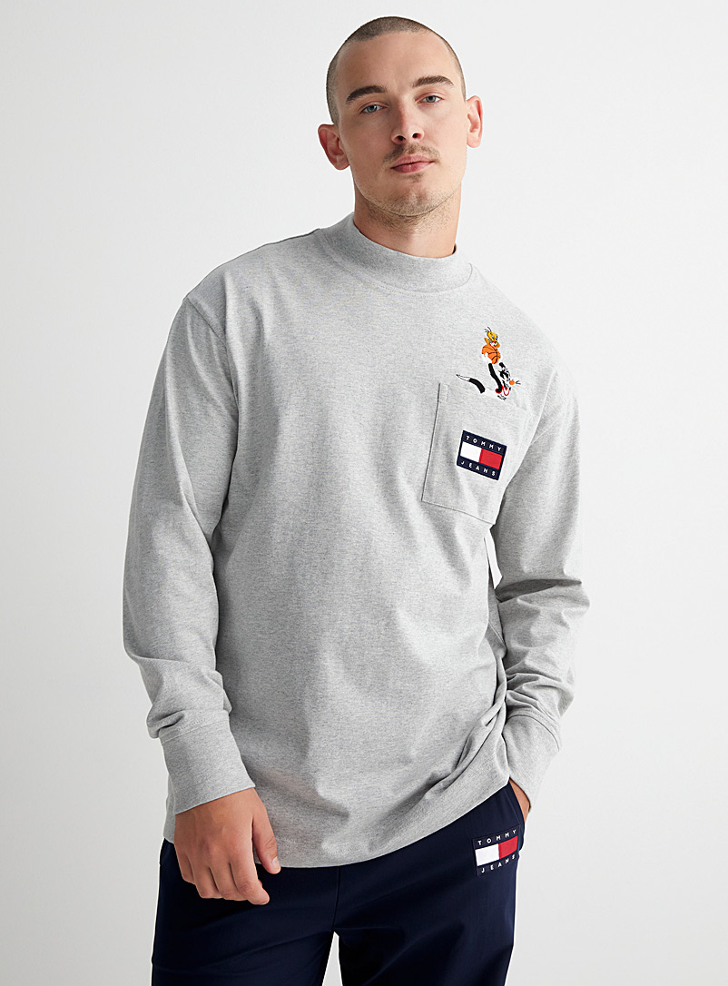 Tommy Jeans Grey Tune Squad long sleeves T-shirt for men