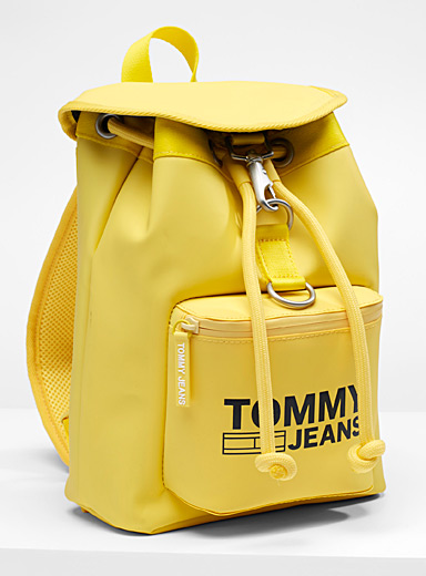 Coated canary yellow backpack