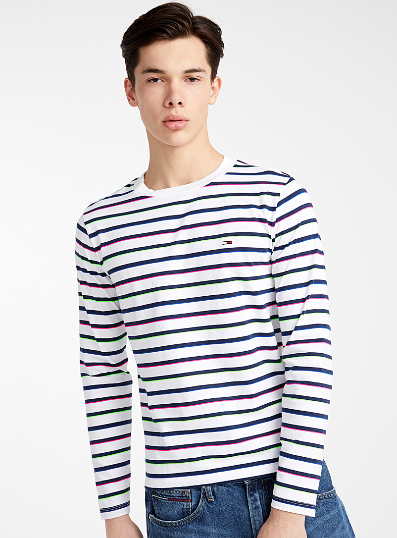 Tommy Hilfiger White Neon accent striped T-shirt for men