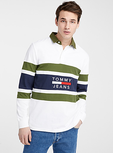 Tommy Hilfiger White Logo striped rugby polo for men