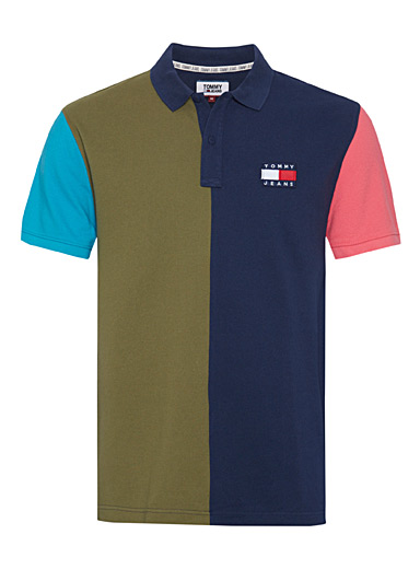 Tommy Hilfiger Marine Blue Vertical block polo for men