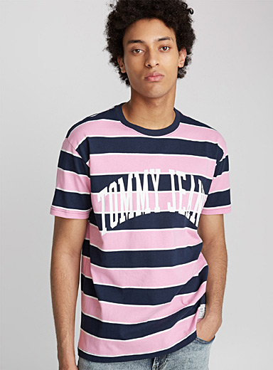 College logo striped T-shirt