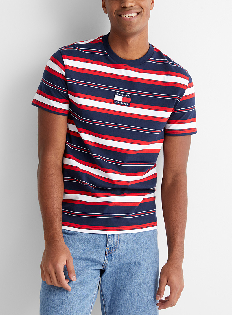 Tommy Hilfiger: Le t-shirt rayures multiples Marine pour homme