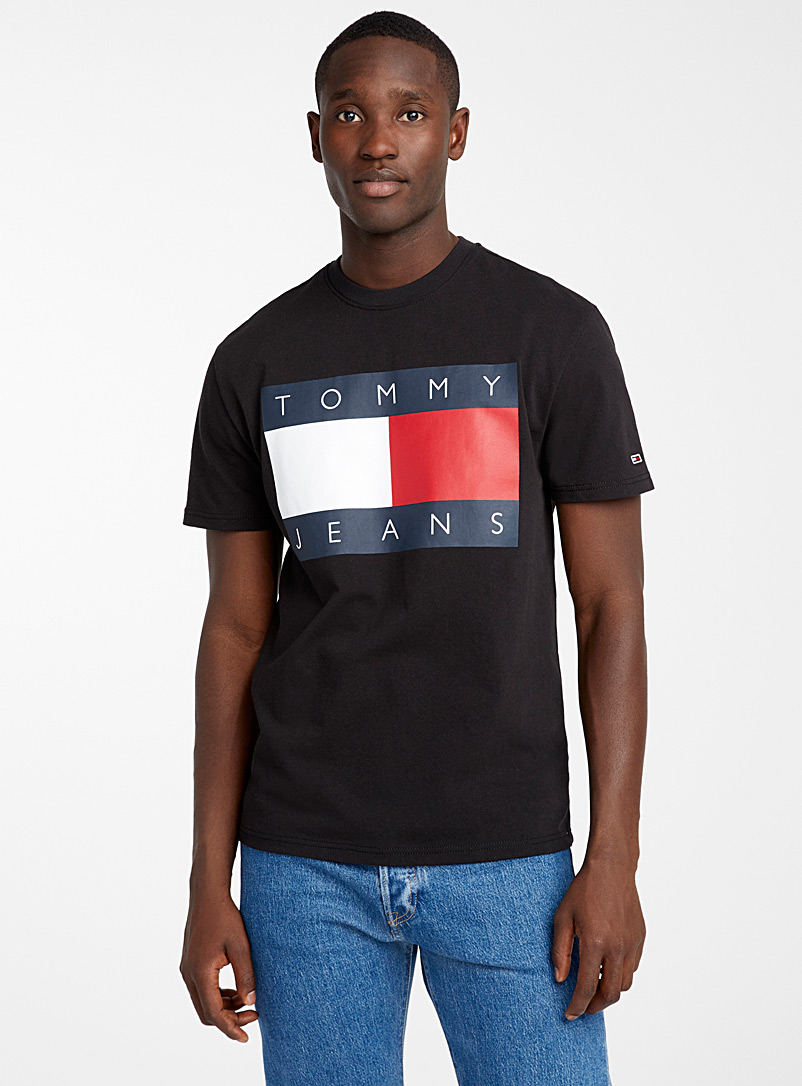 Tommy Hilfiger Black Giant flag logo T-shirt for men