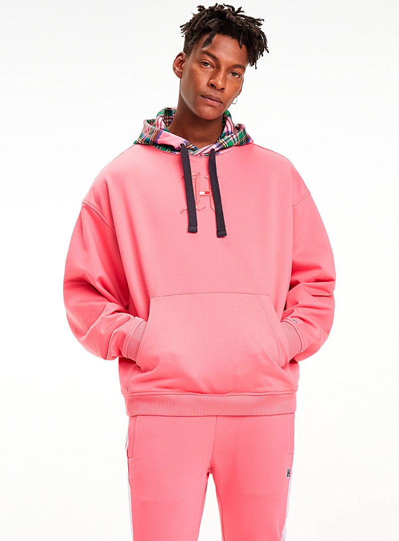 pastel-check-accent-hoodie