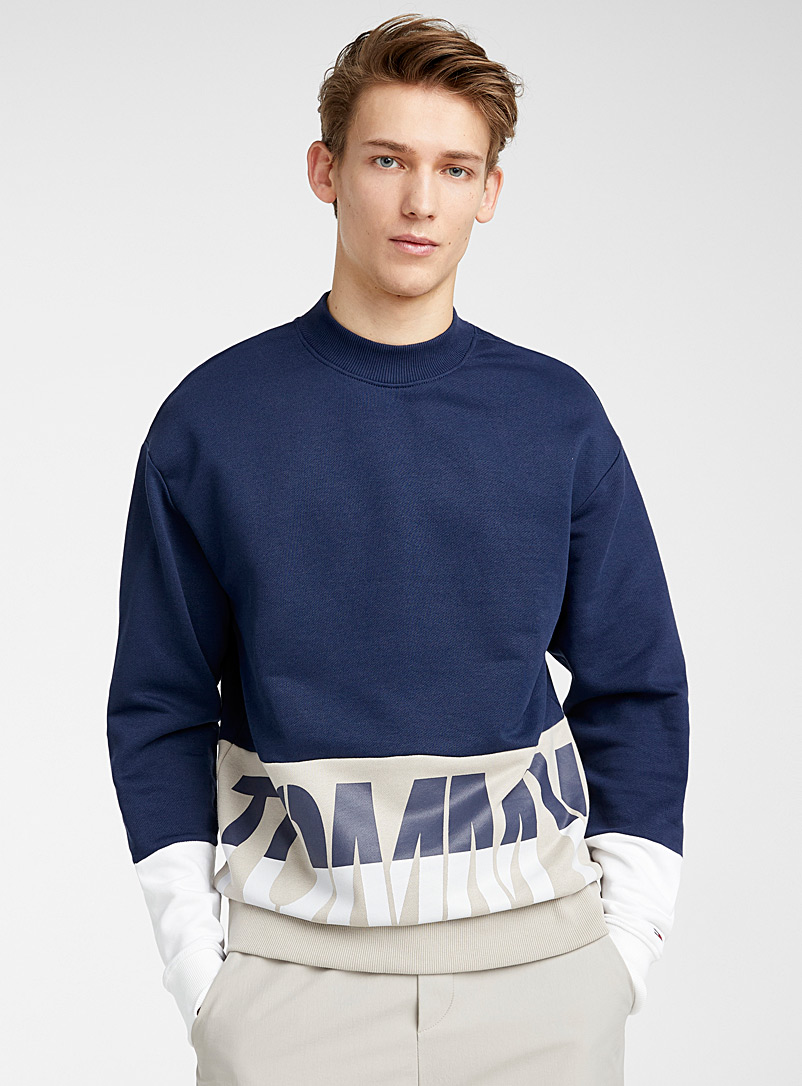 Tommy Hilfiger Marine Blue Logo block sweatshirt for men