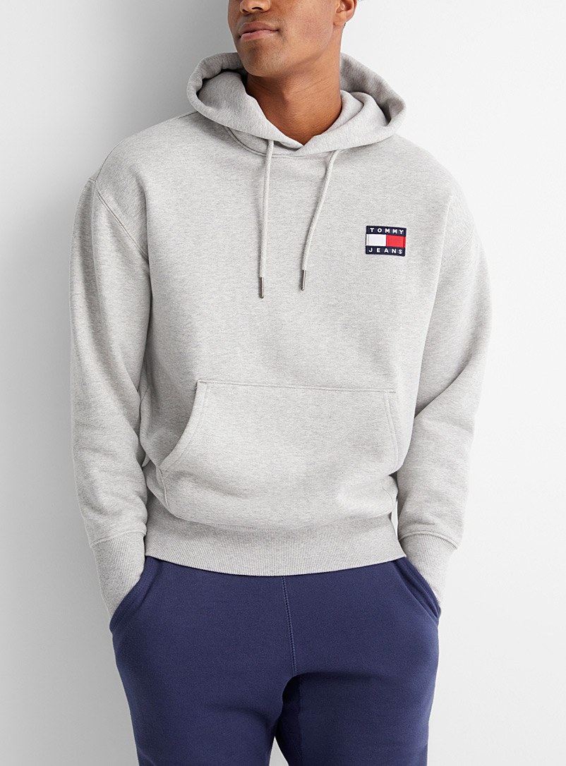 Tommy Hilfiger Grey Flag patch hoodie for men