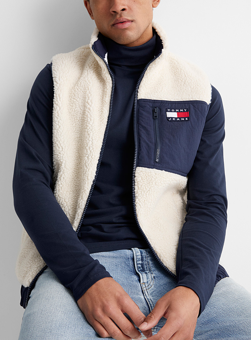 Tommy Hilfiger White Reversible sherpa vest for men