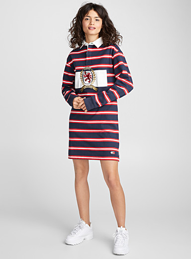 Iconic rugby-stripe dress