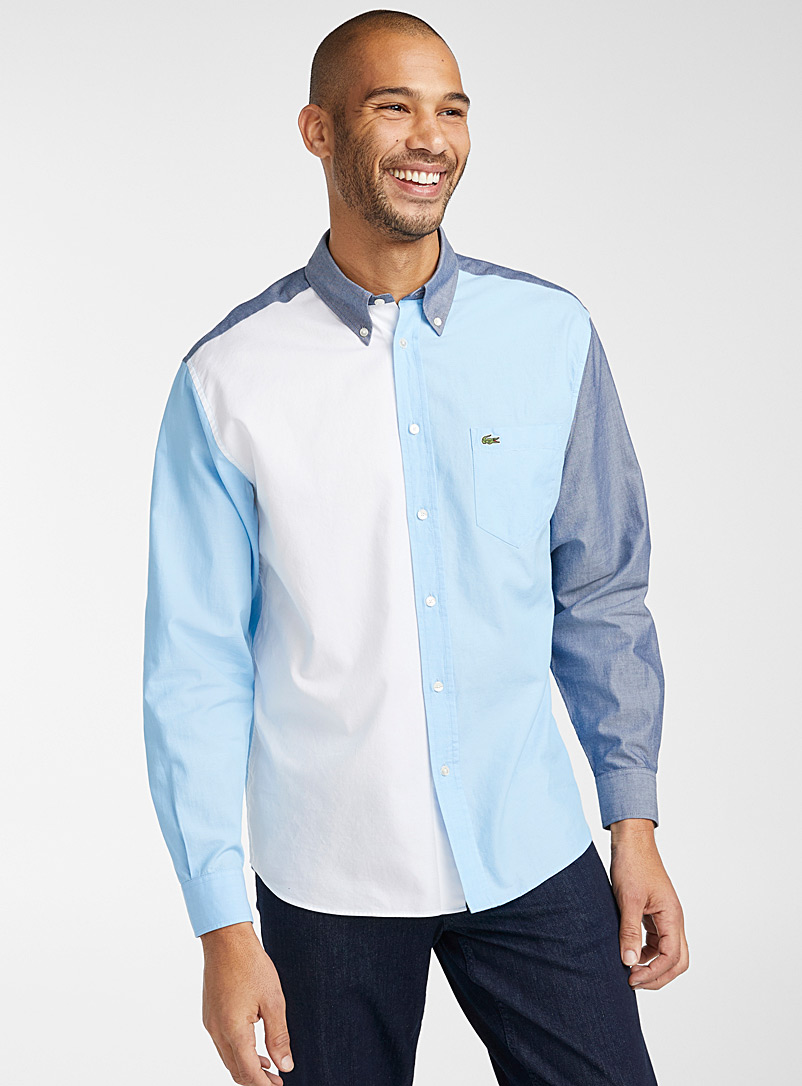 Lacoste Blue Oxford block shirt  Modern fit for men