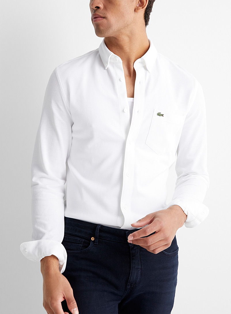 Lacoste White Piqué-knit shirt  Slim fit for men