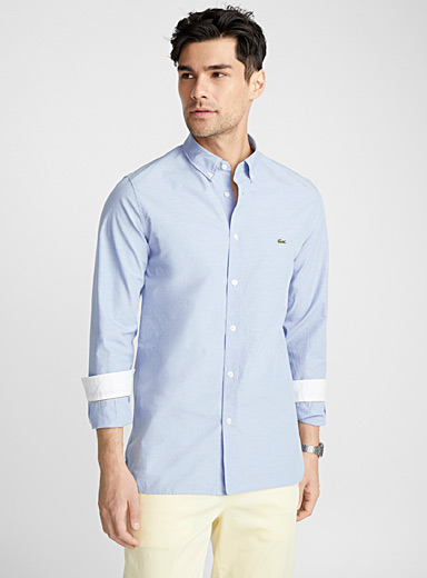 Etched needle-stripe shirt <br>Slim fit