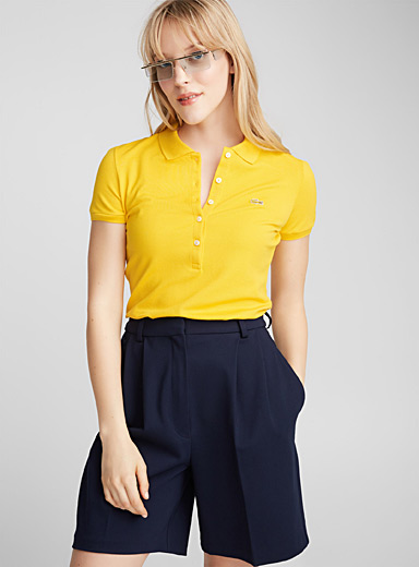 Stretch cotton fitted polo