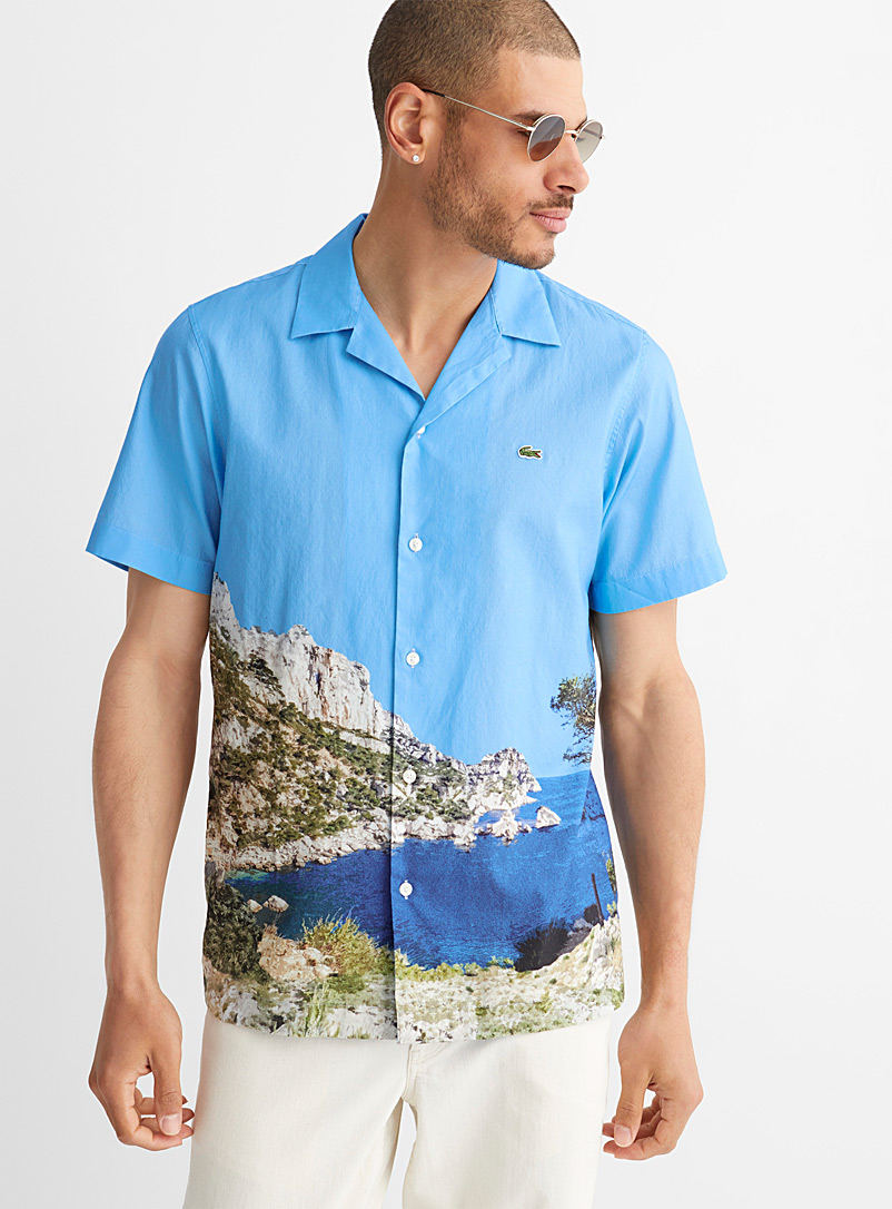 Lacoste Patterned Blue Mediterranean panorama camp shirt for men