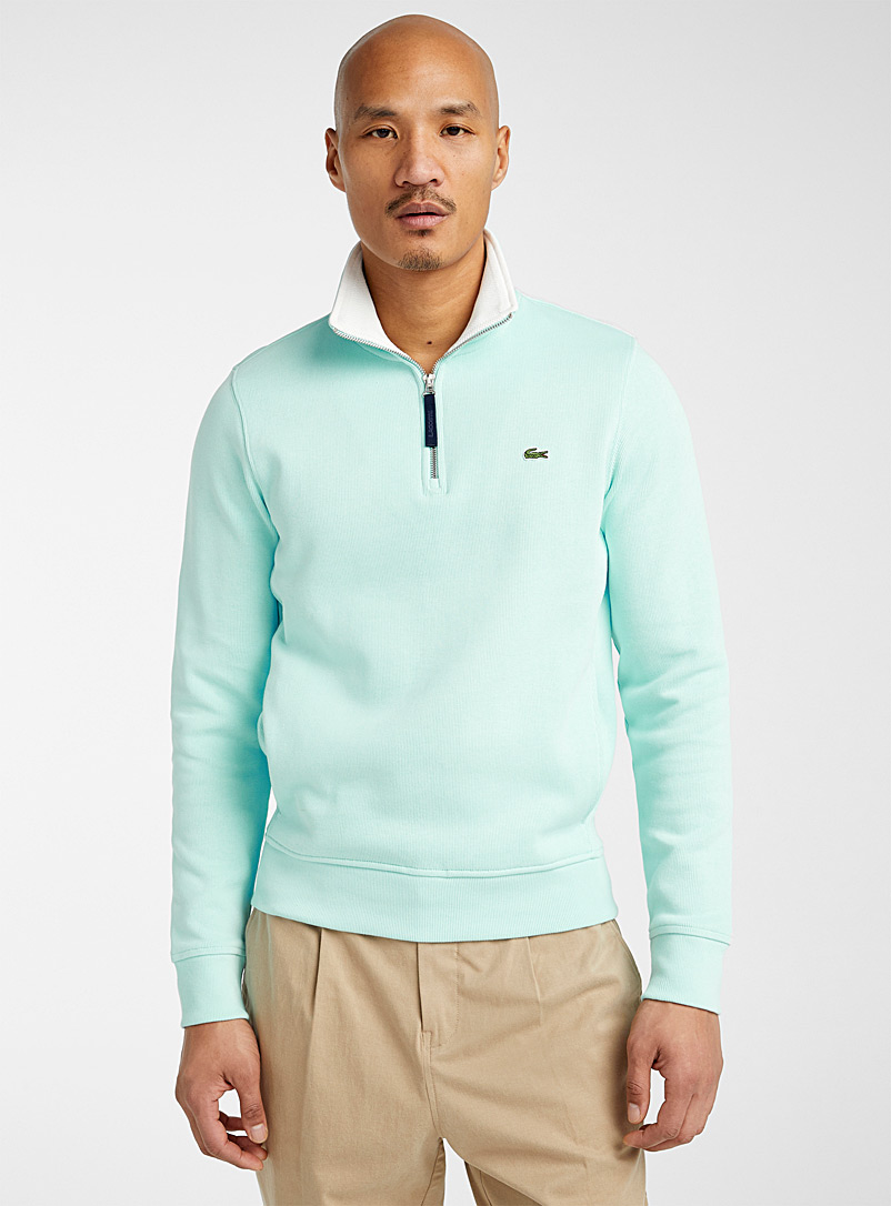 Lacoste Teal Croc emblem half-zip sweater for men