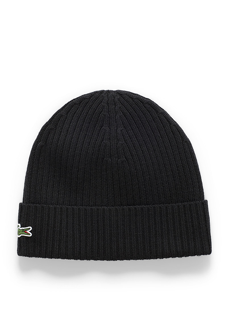 Lacoste Black Croc-cuff ribbed tuque for men