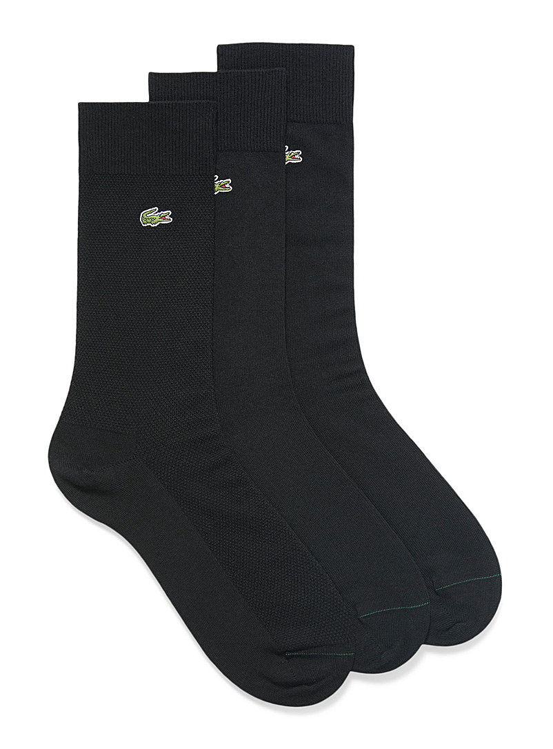 Croc knit and piqué socks  3-pack