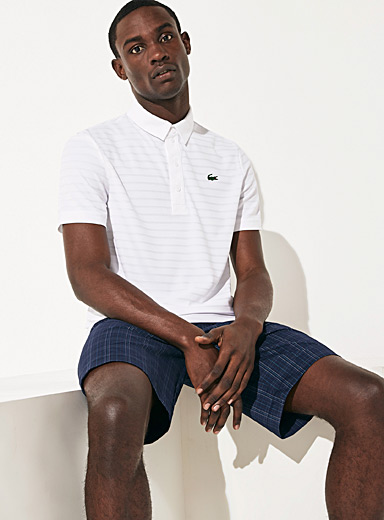 Lacoste White Jacquard stripe micro-piqué polo for men