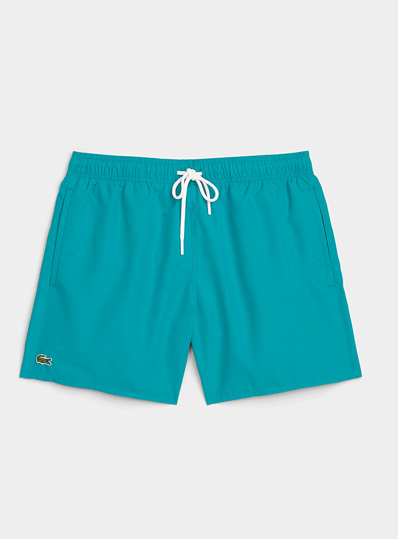 Lacoste Teal Embroidered-croc solid swim trunk for men