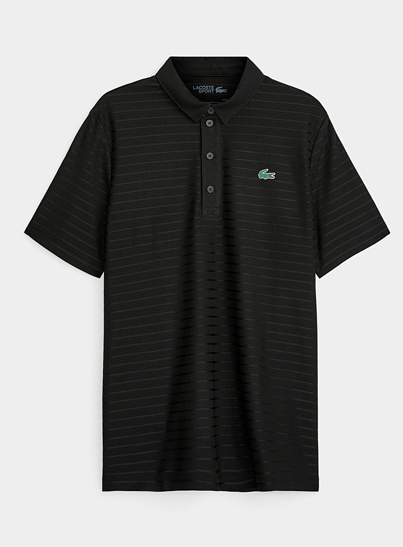 Lacoste Black Tone-on-tone jacquard-stripe polo for men