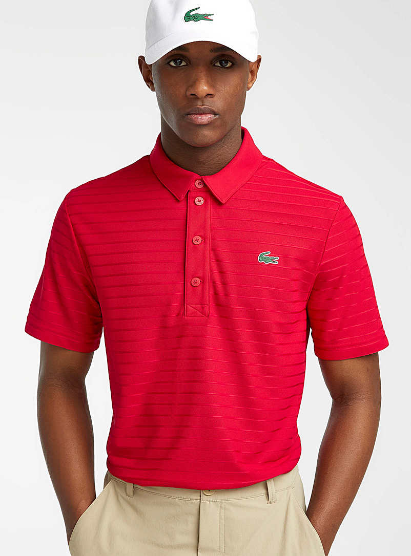 Lacoste Red Tone-on-tone jacquard-stripe polo for men