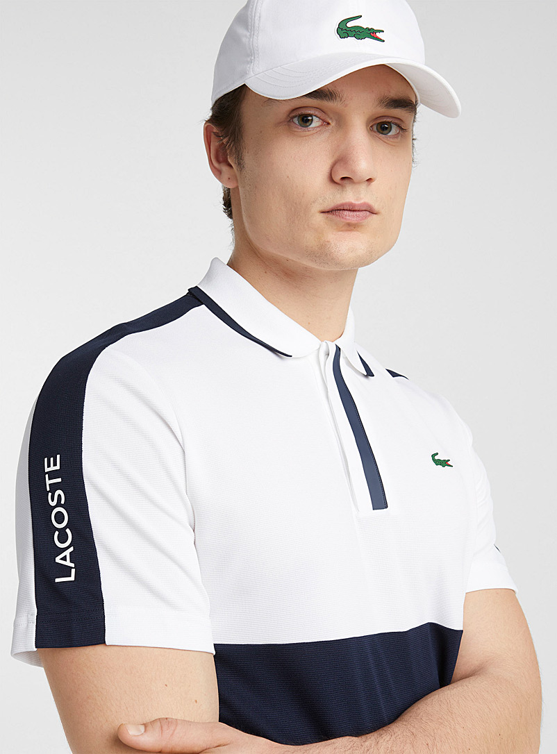 Lacoste Marine Blue Contrast block technical piqué polo for men