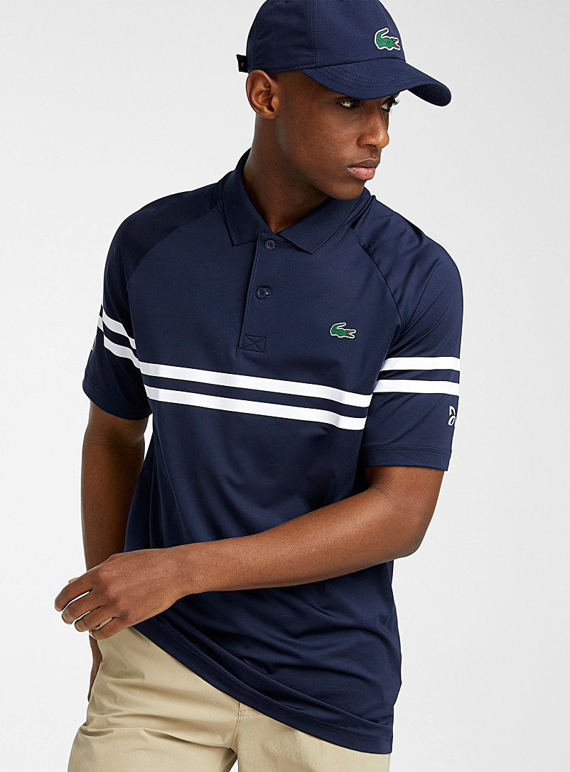 Lacoste Marine Blue Djockovic double stripe polo for men