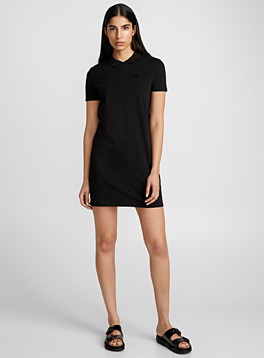 Stretch mini-piqué polo dress