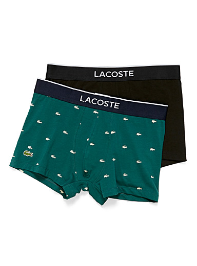 Lacoste Patterned Black Solid and croc trunk 2-pack for men