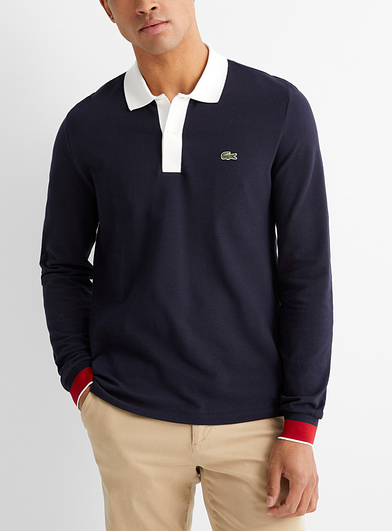 Lacoste Marine Blue Contrast trim piqué polo for men