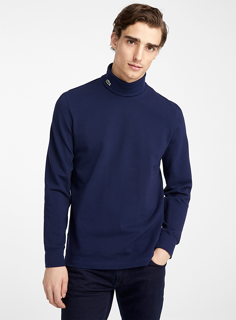 Lacoste Marine Blue Piqué jersey turtleneck for men