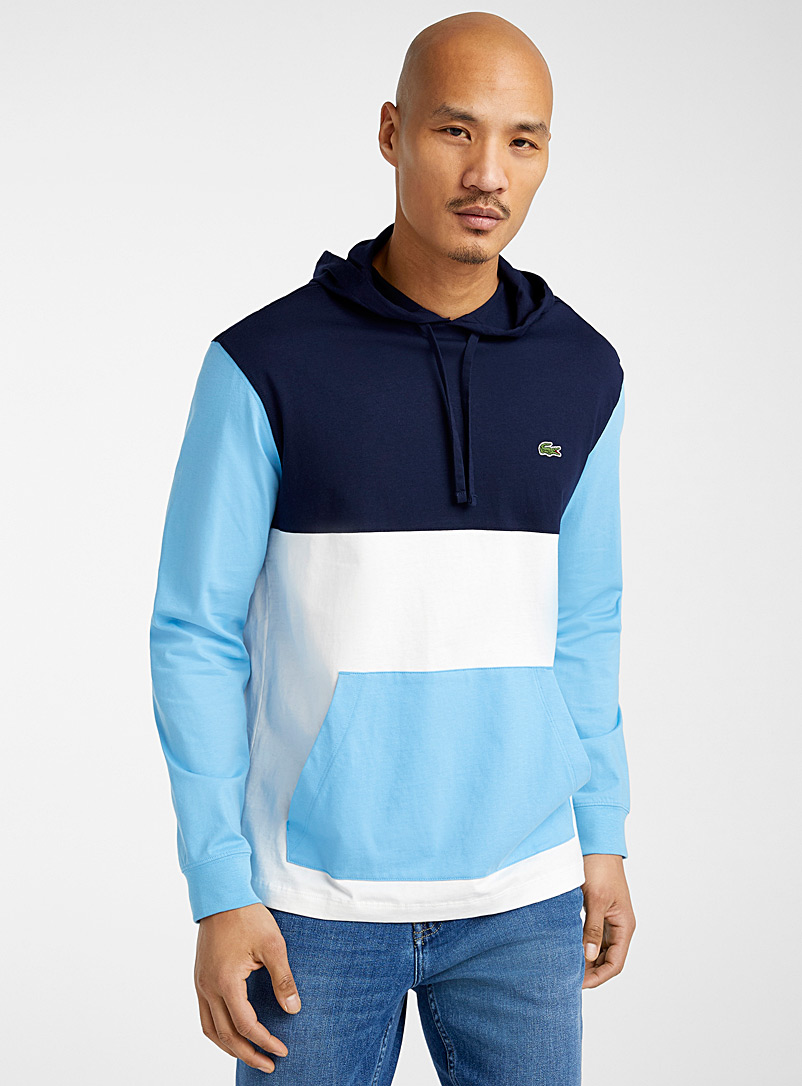 Lacoste Blue Tricolour hoodie T-shirt for men