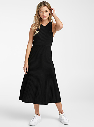 Lacoste Black Ribbed knit Live tank dress for women